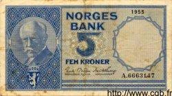 5 Kroner NORVÈGE  1955 P.30a pr.TTB