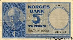 5 Kroner NORVÈGE  1957 P.30d TTB