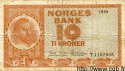 10 Kroner NORVÈGE  1969 P.31d TB