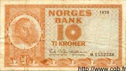 10 Kroner NORVÈGE  1970 P.31e TB