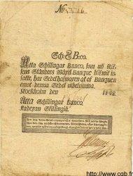 8 Schillingar Banco SUÈDE  1842 P.A100b TB+