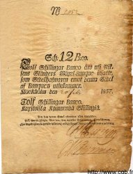 12 Schillingar Banco SUÈDE  1837 P.A101b TB
