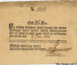 16 Schillingar Banco SUÈDE  1836 P.A102b TTB+