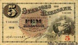 5 Kronor SUÈDE  1918 P.33a TTB