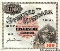 100 Kronor SUÈDE  1918 P.36a TTB+ à SUP