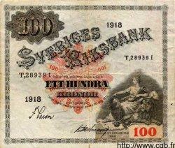 100 Kronor SUÈDE  1918 P.36a TB à TTB