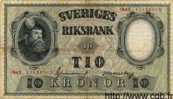 10 Kronor SUÈDE  1943 P.40c TB