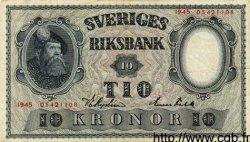 10 Kronor SUÈDE  1945 P.40d TTB+ à SUP