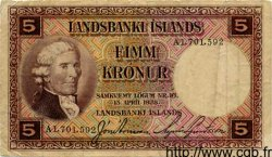 5 Kronur ISLANDE  1934 P.27a pr.TB