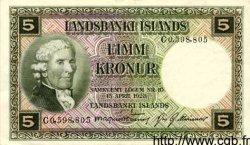 5 Kronur ISLANDE  1948 P.32a TTB+