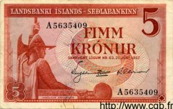 5 Kronur ISLANDE  1957 P.37b TTB