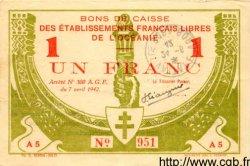 1 Franc INDOCHINE FRANÇAISE  1942 P.008 pr.SUP