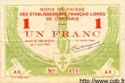 1 Franc OCÉANIE  1942 P.08 TTB+