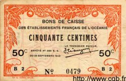50 Centimes OCÉANIE  1943 P.10c TTB