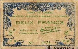 2 Francs OCÉANIE  1943 P.12a TB