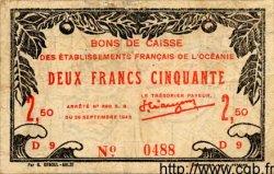 2,50 Francs OCÉANIE  1943 P.013c TB