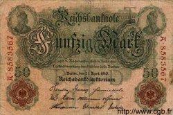 50 Mark ALLEMAGNE  1910 P.041 B