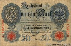 20 Mark ALLEMAGNE  1914 P.046a TB