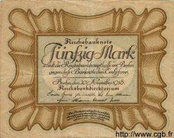 50 Mark ALLEMAGNE  1918 P.065 B+