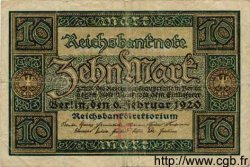 10 Mark ALLEMAGNE  1920 P.067a TB