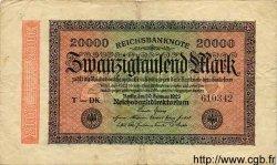 20000 Mark ALLEMAGNE  1923 P.085a B