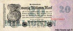 20 Millionen Mark ALLEMAGNE  1923 P.097a TB+