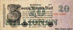 20 Millionen Mark ALLEMAGNE  1923 P.097b TB+