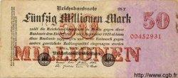 50 Millionen Mark GERMANY  1923 P.109 F