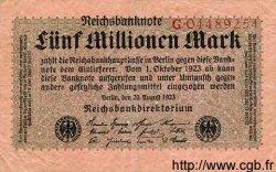 5 Millionen Mark ALLEMAGNE  1923 P.105 TB+