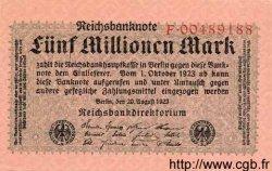 5 Millionen Mark ALLEMAGNE  1923 P.105 SPL+
