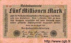 5 Millionen Mark ALLEMAGNE  1923 P.105 TB