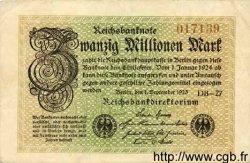 20 Millionen Mark ALLEMAGNE  1923 P.108a TTB
