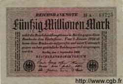 50 Millionen Mark ALLEMAGNE  1923 P.109a pr.SUP