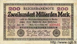 200 Milliarden Mark ALLEMAGNE  1923 P.121a TB