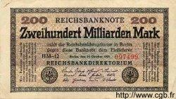 200 Milliarden Mark ALLEMAGNE  1923 P.121a TTB