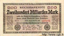 200 Milliarden Mark ALLEMAGNE  1923 P.121c TTB+