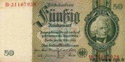 50 Reichsmark ALLEMAGNE  1933 P.182a SUP+