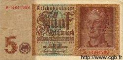 5 Reichsmark Filigrane Inversé ALLEMAGNE  1942 P.186var pr.TTB