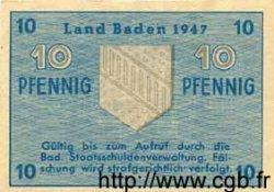 10 Pfennig ALLEMAGNE Baden 1947 PS.1002b SPL