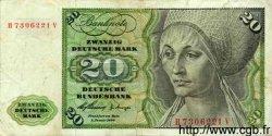 20 Deutsche Mark ALLEMAGNE FÉDÉRALE  1960 P.20 B+