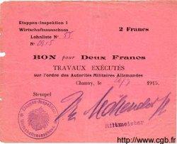 2 Francs ALLEMAGNE Chauny 1915 P.M03 TB+