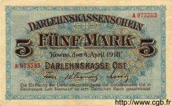 5 Mark ALLEMAGNE Kowno 1918 P.R130 TTB+