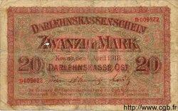 20 Mark ALLEMAGNE Kowno 1918 P.R131 B+
