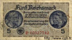 5 Reichsmark ALLEMAGNE  1940 P.R138b B+ à TB