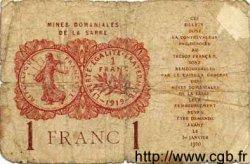 1 Franc MINES DOMANIALES DE LA SARRE FRANCE  1920 VF.51.02 AB