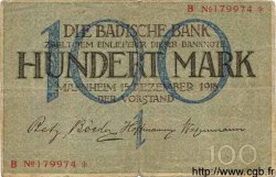 100 Mark ALLEMAGNE Mannheim 1918 PS.0907 TB