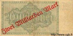 2 Milliarde Mark sur 20 Millionen ALLEMAGNE Mannheim 1923 PS.0913 TTB