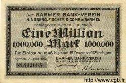 1 Million Mark ALLEMAGNE Barmen 1923 K.237c NEUF