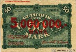 5 Millionen Mark sur 50 ALLEMAGNE  1923 K.2156 TB+