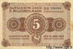 5 Millionen Mark ALLEMAGNE  1923 Han.11a TTB